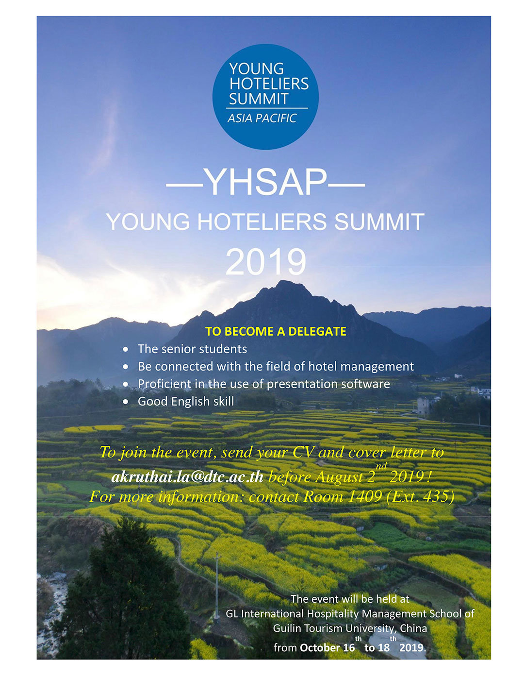 Young Hotelier Summit Asia Pacific (YHSAP) 2019 - Dusit Thani College
